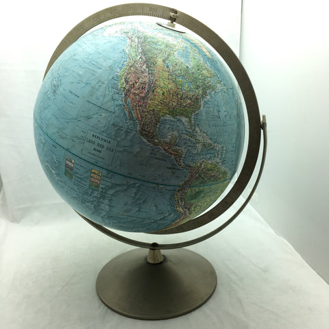 "Land and Sea 12"" Repogle World Globe Metal Frame Vintage"