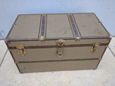Trunk Metal Vintage Antique Old Large storage  36 X 19 X 20 Tall w/Tray corner caps strong