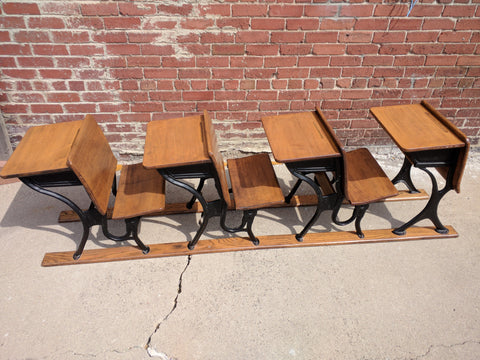 Antique School Desks Row 4 Elementary Desk/Chair AS Co.5 Vintage wood wooden child grade steel set
