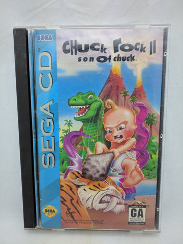Chuck Rock II Son of Chuck SEGA CD 1993 Longbox Case Manual Complete