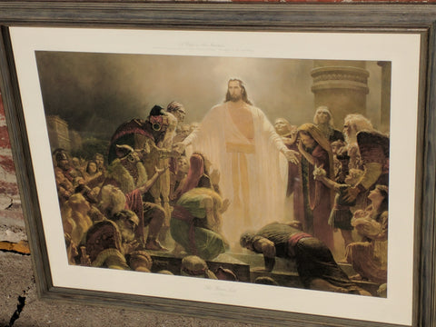 "Arnold Friberg ""The Risen Lord"" art print 'Christ Appearing to the Nephites' ""Light of Christ"" LDS Mormon"