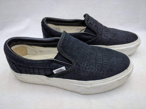 VANS Classic Slip on Platform Trainers Black Croc Emboss Women 6 Mens 4.5