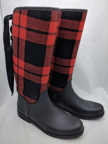 COACH 10 TRISTEE LACE UP CORSET LOGO RED BLACK PLAID RAIN BOOTS