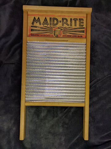 Maid-Rite Wash Board Washboard Washing Wood Wooden VTG 2072 Family Size