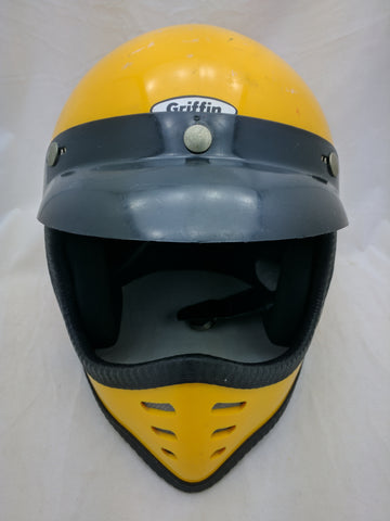 Griffin Moto-X Helmet 1984 Yellow Full Face Vintage 145