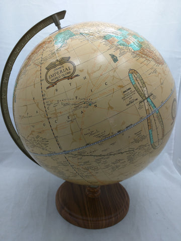 Cram's Imperial World Globe Brown USA Made Vintage