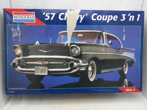 1:12 1957 Chevy Coupe 3n1 Monogram Model Kit 2800 57 1995