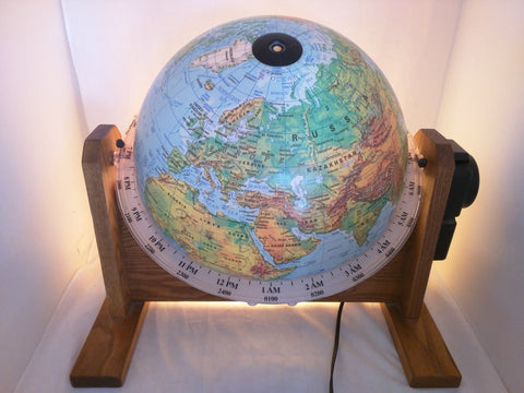 SunLit World Globe Lights Rotates Time Working