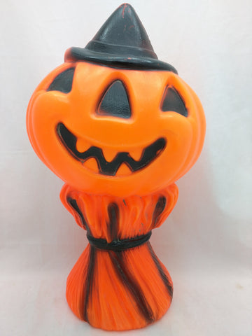 14 inch Halloween Pumpkin Straw 1969 Empire blow mold blowmold vintage missing light