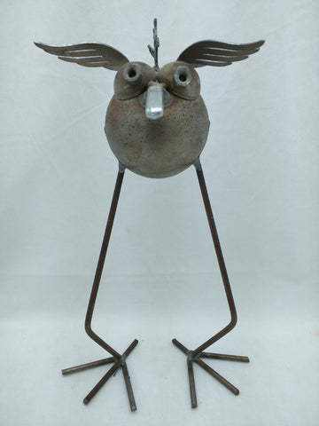 "11"" Metal Ball Bird Junk Sculpture Yard Ornament Dodo Welded Art"