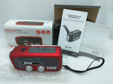 FR160 Red ETON Microlink Emergency Preparedness Radio Solar Power USB