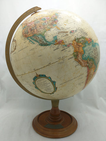 "12"" World Classic Globe UPRR Safety Award USA Table Top Bronze Brown"