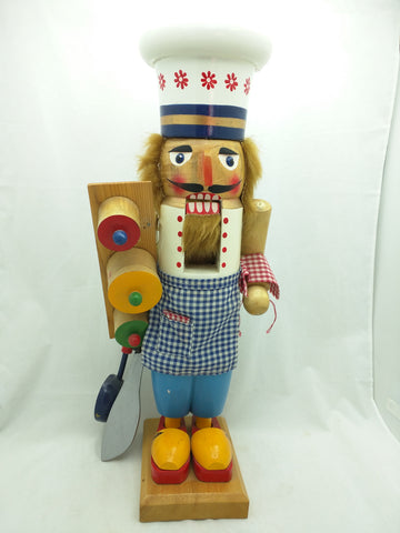 "20"" Chef Nutcracker Santa's Workbench Wooden Wood Large"