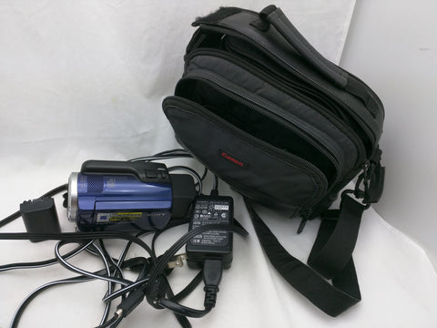 2 Battery Working DCR-SR47 SONY HANDYCAM 60GB Camcorder Blue Case Power Supply Tested
