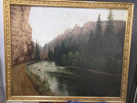 Original 1899 J.E. Burgess Canvas Oil Painting 38X31 Framed Landscape River Road Canyon