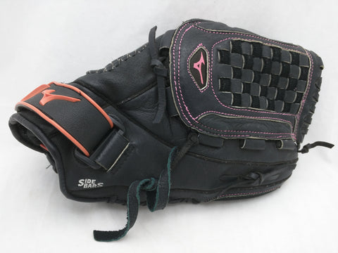 12 1/2  Mizuno Finch GPP 1257D3 Black Softball Baseball Glove Mitt Pink Trim Girls