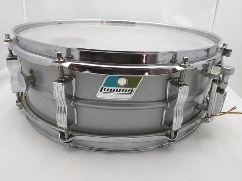 14x5 Grey Ludwig Snare Drum Silver Gray Blue/Olive Badge Acrolite