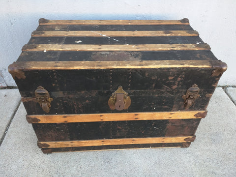 Antique Metal Wood Slate Trunk Tray Label Artwork Hardware Vintage Chest Storage