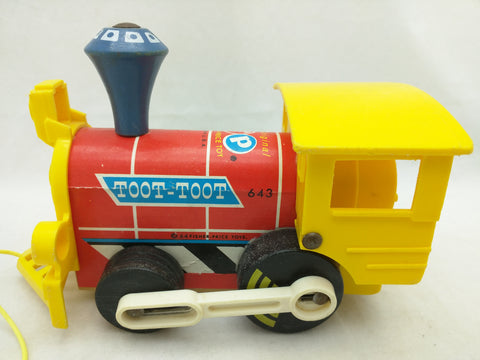 1964 643 Toot-Toot Fisher Price Pull Train Toy Locomotive Engine Wood Plastic