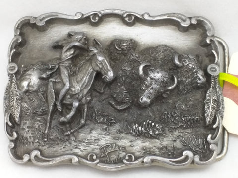 Buffalo Hunt Native American Indian Artaffects 1989 Belt Buckle USA Pewter