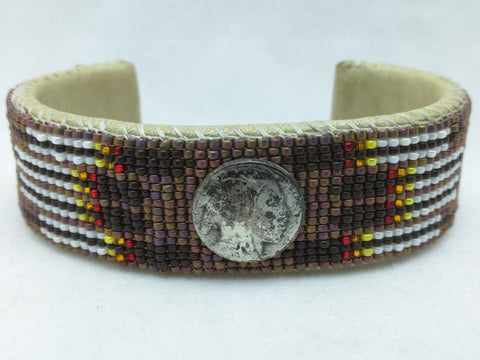 Bracelet Native American HAND BEADED Shoshone Bannock TRIBE ID Cuff Brown