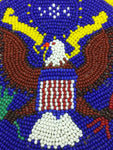 American Eagle Belt Buckle Native HAND BEADED Shoshone Bannock TRIBE ID Blue