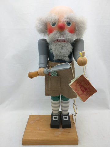 Toy Maker Holzkunst Christian Ulbricht 2X SIGNED German Nutcracker Carver Bald Spectacles Chisel Wood 1995 Wooden