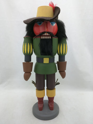"Spanish Soldier GDR Original Erzgebirge Expertic 13"" Painted Wood Nutcracker Vintage"
