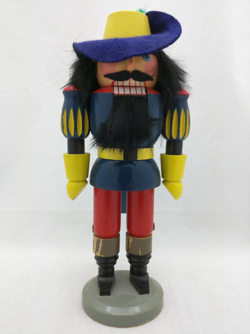 "Spanish Soldier GDR Original Erzgebirge Expertic 9"" Painted Wood Nutcracker Vintage"