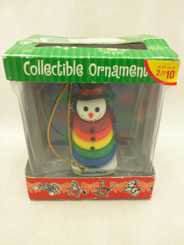 Rock-a-Stack Toy Snowman Christmas Ornament Fisher Price 2004