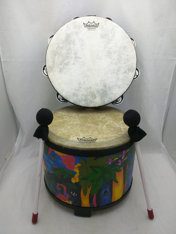 REMO Fiberskyn Tambourine Kid's Percussion Drum 10 x7.5 Rain Forest Animals