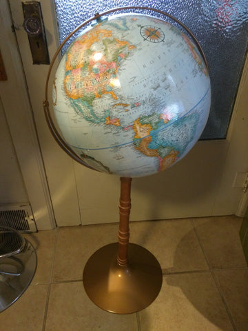 "16 inch Floor 37"" Stand Replogle Globe World Classic VGC Blue"