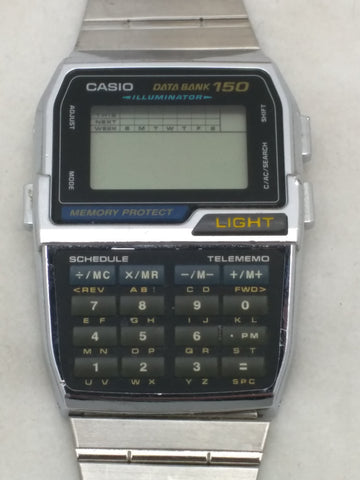 Casio Data Bank 150 DBC-1500 1477 LCD Stainless Chrome Watch Wrist