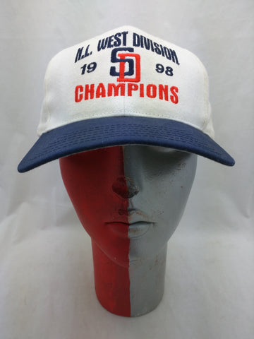 New SD San Diego Padres Hat Cap NL West Division 1998 Champions Adjustable Snapback