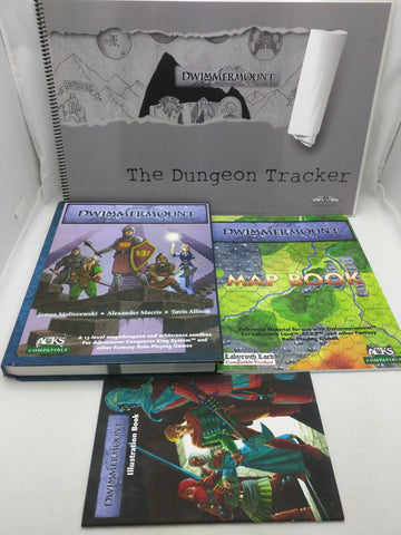 4 Dwimmermount Book Manual Dungeon Tracker Map Illustration RPG Set