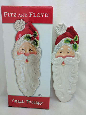 Santa Server Tray Fitz and Floyd Snack Therapy Ceramic