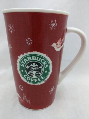 Holiday 2008 Starbucks Coffee 16 oz Mug Red Snowflakes Tree Deer