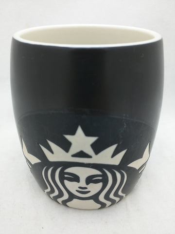 2011 Starbucks Mermaid Etched Siren Lady Coffee Mug Black