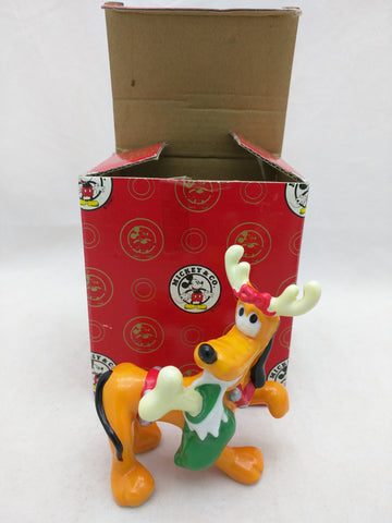 Pluto Sock in Mouth Figurine Enesco Christmas Stocking Porcelain Mickey's Workshop