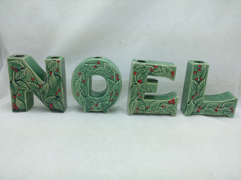 NOEL Letter Candle Holder Spelling Thames Hand Painted Japan Holly Ceramic