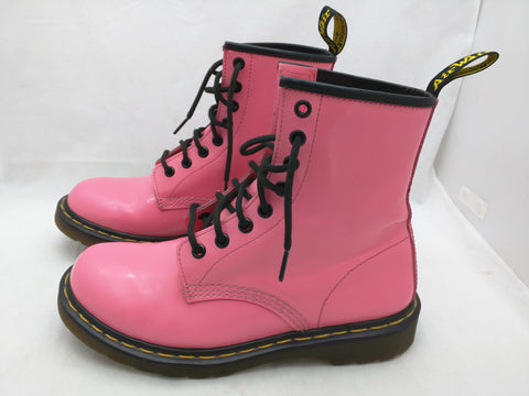 7 Doc Dr Martens 1460W AirWair Pink Patent Leather 8 Eye Ankle Boots Women