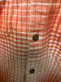 L Men Patagonia Orange Long Sleeve Shirt White Plaid Organic Cotton Button Flannel