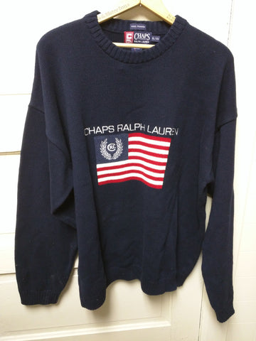 XL USA Flag Ralph Lauren Chaps Spell Out Knit Pullover Crewneck Sweater 90s VTG