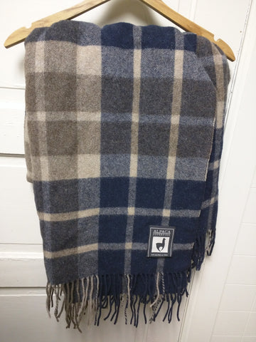 Alpaca Superfine Blanket Throw Incalpaca TPX Plaid Black Brown