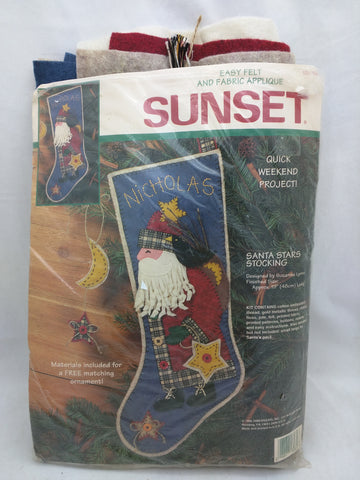 "Santa Stars Stocking Sunset Felt Fabric Kit Applique 19"" 18089"