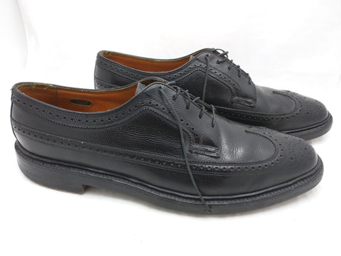 12 B FLORSHEIM Imperial Kenmoor 92604 Wingtip Dress Shoes 5 Nail V-Cleat VTG Black