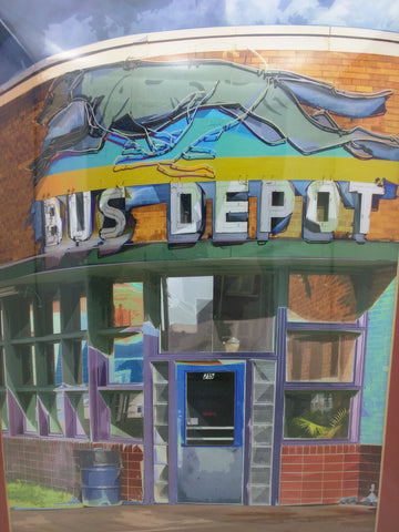 Greyhound Bus Depot Print 2004 Art Photo Pocatello Idaho Neon Light