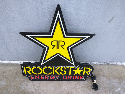 Sign RockStar Energy Drink Lighted Star Rock Hanging