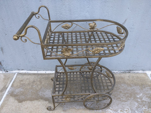 Wire Hand Cart Shelf Rack Grapes Leaves Table Stroller Buggy Shabby Chic Décor Metal
