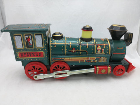Western Tin Train Battery Operated Locomotive Modern Toy Japan